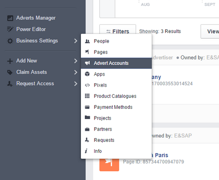 Facebook Business Manager - Advert Accounts Tab
