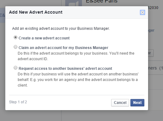 Facebook Business Manager - New Advert Account