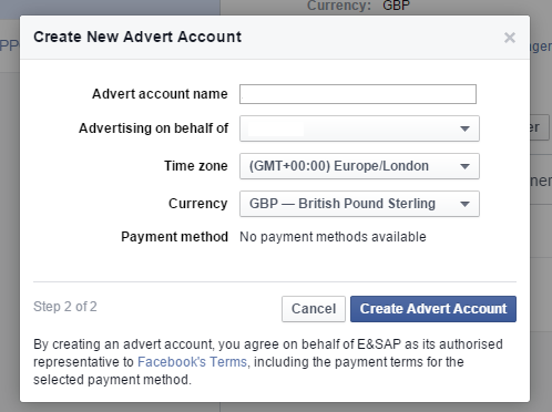 Facebook Business Manager - New ad account setup