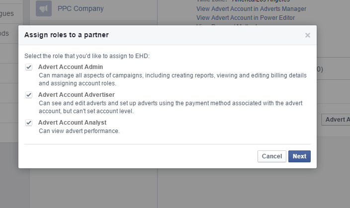 Facebook Business Manager - assign roles