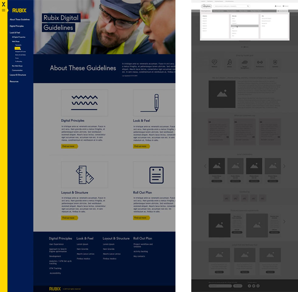 Navigation design and wireframe on the Rubix and Lifeplan sites