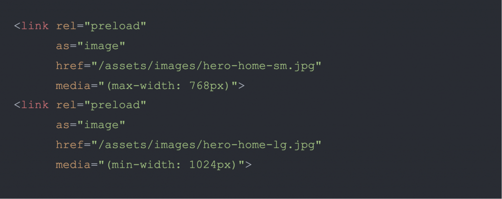 An example of using preload property to improve image loading