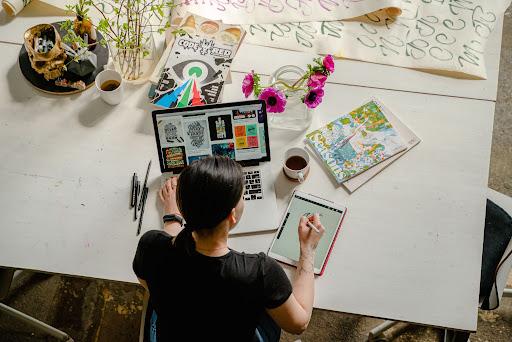 Web designer designing